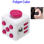 Stress Squeeze Fun Anti Stress 6-Sided Desk Fidget Toy Cube for Adults and Children (White and Rose)