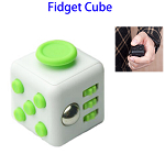 Stress Squeeze Fun Anti Stress 6-Sided Desk Fidget Toy Cube for Adults and Children (White and Green)