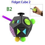 12 Sides Anti-anxiety and Depression Fidget Cube Toys 2 for Adults (B2)