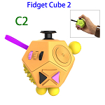 12 Sides Anti-anxiety and Depression Fidget Cube Toys 2 for Adults (C2)