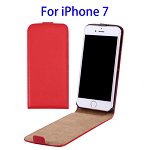 Vertical Flip Leather Case for iPhone 7 (Red)