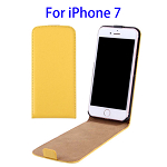 Vertical Flip Leather Case for iPhone 7 (Yellow)