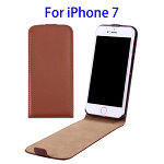 Vertical Flip Leather Case for iPhone 7 (Brown)
