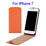 Vertical Flip Leather Case for iPhone 7 (Orange)