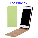 Vertical Flip Leather Case for iPhone 7 (Green)