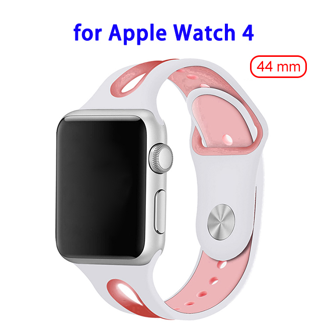 Top Sales Silicone Durable Breathable Watch Band for Apple Watch 4 44mm(White+Pink)