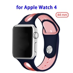Top Sales Silicone Durable Breathable Watch Band for Apple Watch 4 44mm(Black+Pink)