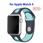 Top Sales Silicone Durable Breathable Watch Band for Apple Watch 4 44mm(Black+blue)