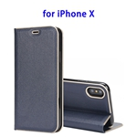 Cowhide Texture Strong Magnetic Adsorption Horizontal Flip Leather Case for iPhone X (Blue)