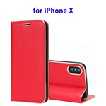 Cowhide Texture Strong Magnetic Adsorption Horizontal Flip Leather Case for iPhone X (Red)