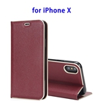 Cowhide Texture Strong Magnetic Adsorption Horizontal Flip Leather Case for iPhone X (Wine Red)