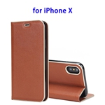Cowhide Texture Strong Magnetic Adsorption Horizontal Flip Leather Case for iPhone X (Brown)