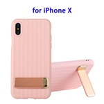 TPU + PC Protective Back Cover Case for iPhone X with Metal Holder (Pink)