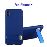 TPU + PC Protective Back Cover Case for iPhone X with Metal Holder (Blue)