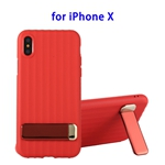 TPU + PC Protective Back Cover Case for iPhone X with Metal Holder (Red)