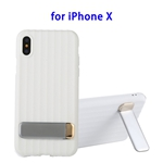TPU + PC Protective Back Cover Case for iPhone X with Metal Holder (White)