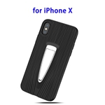 Protective Back Cover TPU Case for iPhone X with Hidden Holder (Black)