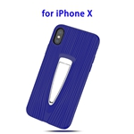 Protective Back Cover TPU Case for iPhone X with Hidden Holder (Blue)