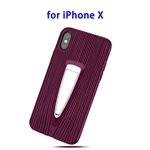 Protective Back Cover TPU Case for iPhone X with Hidden Holder (Purple)