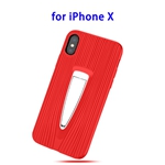Protective Back Cover TPU Case for iPhone X with Hidden Holder (Red)