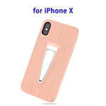 Protective Back Cover TPU Case for iPhone X with Hidden Holder (Pink)