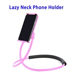 Universal Hanging On Neck Lazy Phone Holder DIY Free Rotating Stand Multiple Functions Lazy Bracket Phone Holder (Pink)