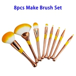 Thickening Electroplating Tube 8pcs Synthetic Fiber Hair Makeup Brush Set (Gold)