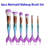 6pcs/set Super Soft Synthetic Hair Colorful Mermaid Makeup Brushes