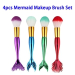4pcs/set Nylon Hair Electroplated Plastic Handle Colorful Mermaid Makeup Brushes