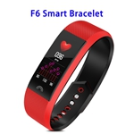 Factory Price F6 Model CE ROHS FCC Approved Colorful Screen IP68 Smart Sports Band (Red)