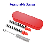 FDA Approved Food-grade Stainless Steel Material Silicone Nozzle Telescopic Straw (Red)