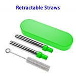 FDA Approved Food-grade Stainless Steel Material Silicone Nozzle Telescopic Straw (Green)