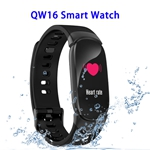 CE ROHS FCC Approved QW16 Heart Rate Smart Bracelet Waterproof Fitness Tracker (Black)