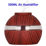 300ML Aroma Diffuser Wooden USB Air Humidifier With LED Light(Red Wooden Color)