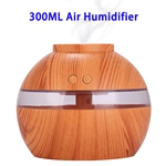 300ML Aroma Diffuser Wooden USB Air Humidifier With LED Light(Light Wooden Color)