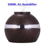 300ML Aroma Diffuser Wooden USB Air Humidifier With LED Light(Dark Wooden Color)