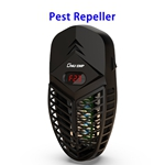 2 in 1 Indoor Electric LCD Bug Zapper Insect Mosquito Killer Trap Rat Cockroach Ultrasonic Pest Repellent(Black)