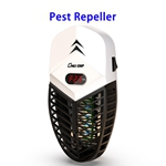2 in 1 Indoor Electric LCD Bug Zapper Insect Mosquito Killer Trap Rat Cockroach Ultrasonic Pest Repellent(White)