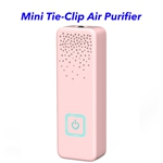 CE ROHS FCC Approved Personal Rechargeable Negative Ion Generator Portable Wearable Air Purifier (Pink)