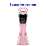 Hot Selling Hand held 6 in 1 EMS Infrared Therapy Ultrasonic Cellulite Remover Vibration Cosmetic Instrument(Pink)