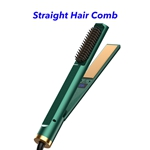 3 in 1 Hair Straightener and Curler Ceramic Hair Straightener Brush Fast Heating Adjustable Temperatures Hot Air Brush for All Hair Types(green)