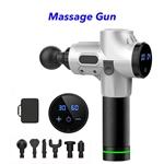 30 Speed 6 Heads Cordless Handheld Massage Gun Deep Tissue Percussion Body Massager (Silver)