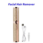 Newest Design USB Rechargeable Hair Remover Lady Portable Electric Eyebrow Razor Trimmer(Gold)