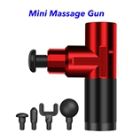 4 Speed USB Rechargeable Body Muscle Massager Mini Massage Gun with 4 Heads(Red)