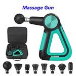 CE ROHS FCC Multi-Sided Handle Design 5 Speeds Muscle Massage Gun(Green)