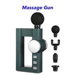New Deep Tissue Percussion Mini Hot Compress LCD Fascia Massage Gun(Deep green)