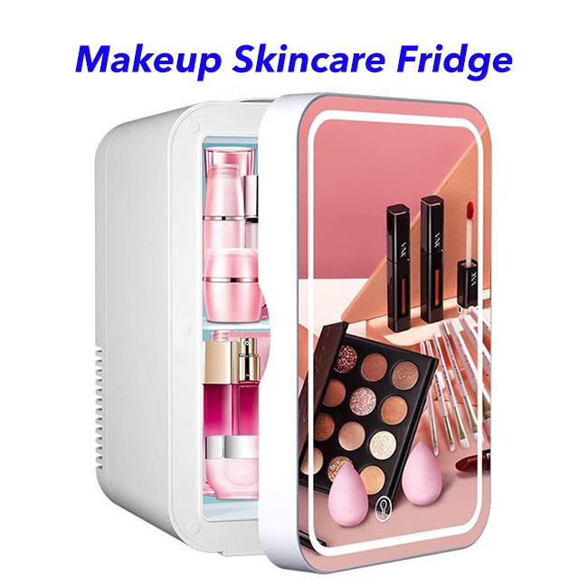 2 in 1 Mini Makeup Mirror Skincare Fridge Beauty Fridge Refrigerator Portable Vehicle Camping Fridge Freezer