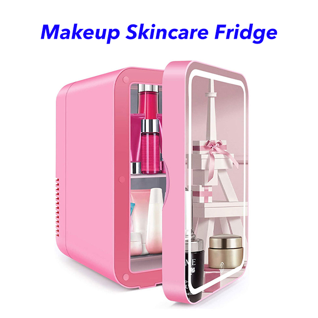 2 in 1 Mini Makeup Mirror Skincare Fridge Beauty Fridge Refrigerator Portable Vehicle Camping Fridge Freezer(pink)