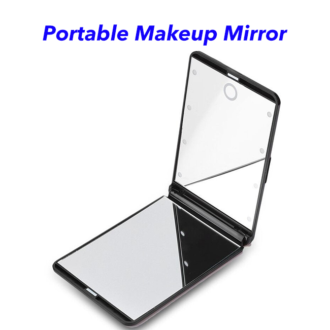 New Arrival Multifunctional Portable Foldable Mini LED Beads Cosmetic Illuminated Makeup Mirror with Light (black)