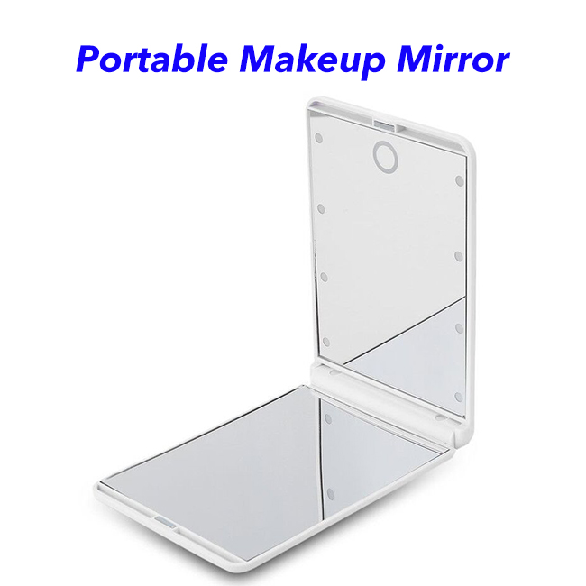 New Arrival Multifunctional Portable Foldable Mini LED Beads Cosmetic Illuminated Makeup Mirror with Light (white)